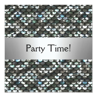 Black Silver Sequins Birthday Party Card