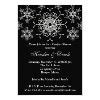 Black, Silver Snowflakes Couples Shower Invite