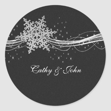 black Silver Snowflakes wedding favor stickers