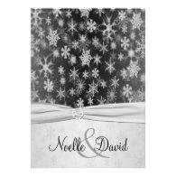 Black, Silver Snowflakes Wedding Invite