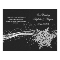 black Silver Snowflakes wedding programs folded