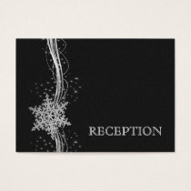 black Silver Snowflakes wedding reception invite