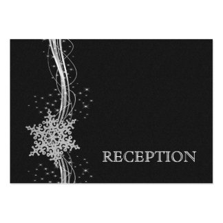 black Silver Snowflakes wedding reception invite Business Cards