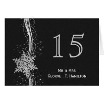 black Silver Snowflakes wedding table numbers Card