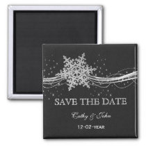black Silver Snowflakes Winter save the Date Magnet