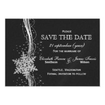 black Silver Snowflakes Winter save the date Magnetic Card