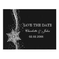 black Silver Snowflakes Winter save the Date Postcard
