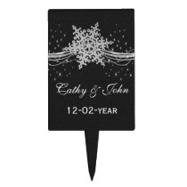 black Silver Snowflakes Winter wedding  cake picks
