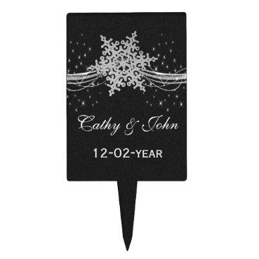 black Silver Snowflakes Winter wedding  cake picks