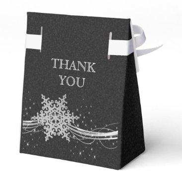 black Silver Snowflakes Winter wedding favor box