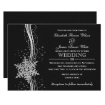 black Silver Snowflakes Winter wedding invitations
