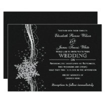 black Silver Snowflakes Winter wedding invitations