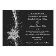 black silver Snowflakes Winter wedding invites by mgdezigns