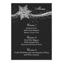 black Silver Snowflakes Winter wedding menu cards