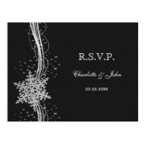 black Silver Snowflakes Winter wedding RSVP Postcard
