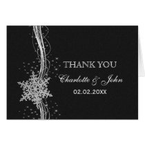 black Silver Snowflakes Winter wedding Thank You Card