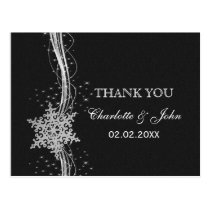 black Silver Snowflakes Winter wedding Thank You Postcard