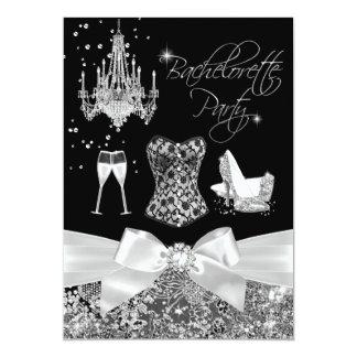Black & Silver Sparkle Bow Bachelorette Party Card