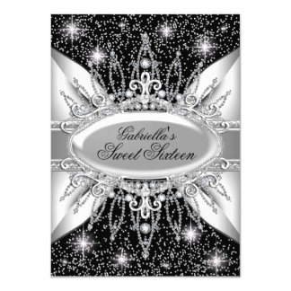 Black & Silver Sparkle Diamond Sweet 16 Invite