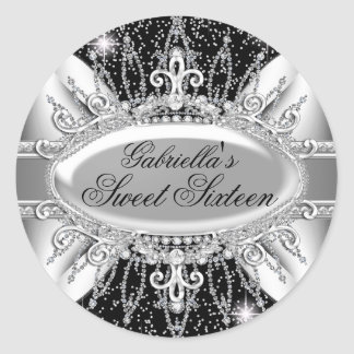 Black & Silver Sparkle Diamond Sweet 16 Sticker
