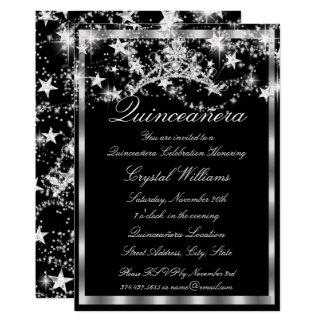 Black Silver Sparkle Tiara Stars Quinceanera Card