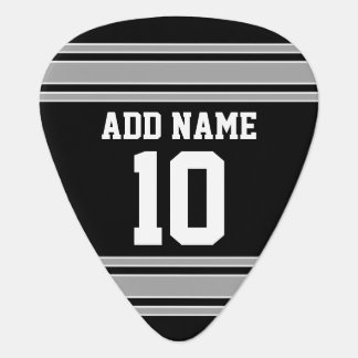 Black Silver Sports Jersey with Your Name & Number Guitar Pick