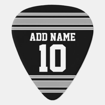 Black Silver Sports Jersey With Your Name & Number Guitar Pick by MyRazzleDazzle at Zazzle