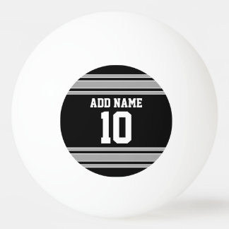 Black Silver Sports Jersey with Your Name & Number Ping Pong Ball