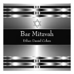 Black Silver Star of David Bar Mitzvah Personalized Announcement