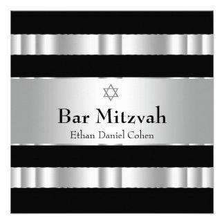 Black Silver Star of David Bar Mitzvah Invite
