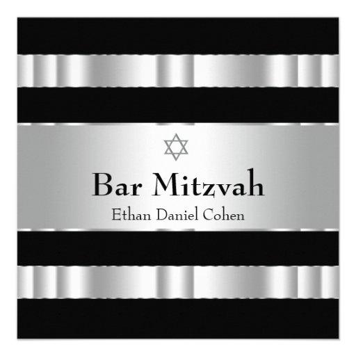 Black Silver Star of David Bar Mitzvah Invitation