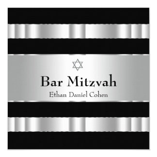 Black Silver Star of David Bar Mitzvah Invite