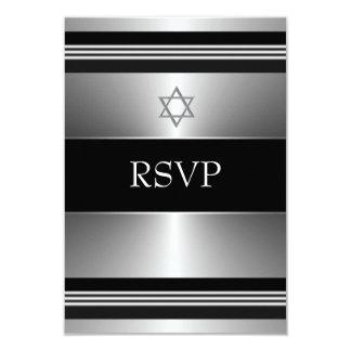 Black Silver Star of David Bar Mitzvah RSVP Card