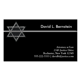 Black & Silver Star of David Business Cards