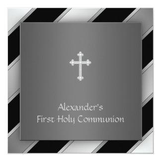 Black Silver Stripe Boy First Communion Card