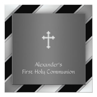 Black Silver Stripe Boy First Communion 5.25x5.25 Square Paper Invitation Card