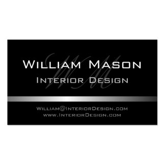 Black Silver Stripe Professional Business Card