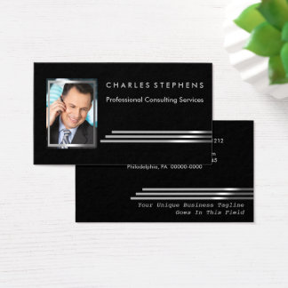 Black Silver Striped Professional Consulting Photo Business Card