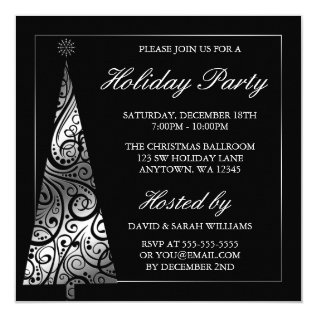 Black Silver Swirl Christmas Tree Holiday Party Card at Zazzle