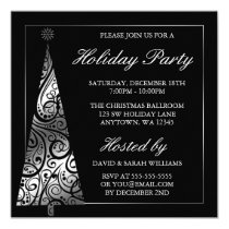 Black Silver Swirl Christmas Tree Holiday Party Invitation
