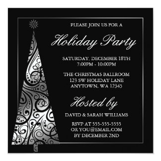 Black Silver Swirl Christmas Tree Holiday Party Invitation