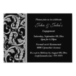 Black silver swirl engagement anniversary CUSTOM Personalized Invitations