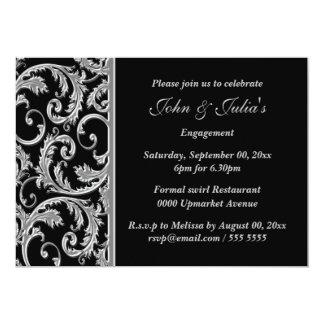 "Black silver swirl engagement anniversary CUSTOM 5"" X 7"" Invitation Card"