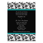 Black Silver Teal Floral Wedding Invitation