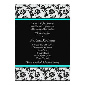 "Black Silver Teal Floral Wedding Invitation 5"" X 7"" Invitation Card"