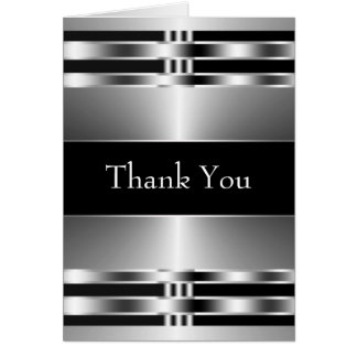Black Silver Thank You Cards
