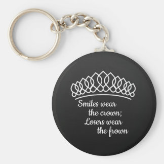Black Silver Tiara Pageant Smiles Wear Crown Keychain