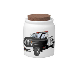 Black Silver Tow Truck Cartoon Candy Jars