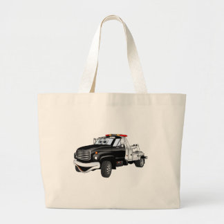 Black Silver Tow Truck Cartoon Large Tote Bag