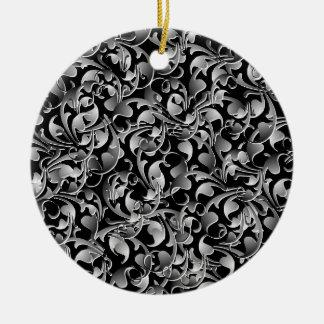 Black & Silver Twining Leaves Ceramic Ornament